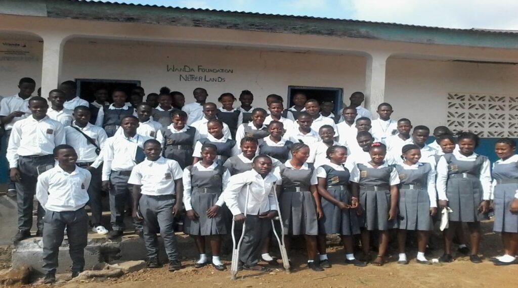 School kids happy